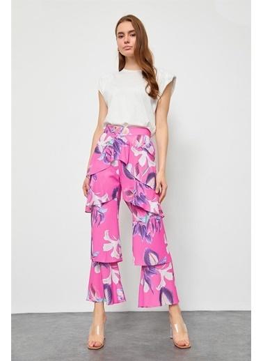 Setre Orkide Yüksek Bel Katlı Pantolon Renkli